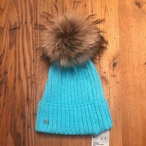 "Bogner Turquoise ""Leonie"" Real Fur Hat"